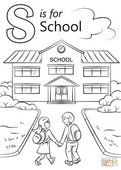School Coloring Pages Idea letter s is for school coloring page free printable School Coloring Pages. Here is School Coloring Pages Idea for you. School Coloring Pages printable welcome to school coloring page. Letter A Coloring Pages, Coloring Pages To Print, Free Printable Coloring Pages, Coloring Pages For Kids, Coloring Books, Printable Alphabet Letters, Printable Crafts, Kindergarten Coloring Pages, Apple Coloring