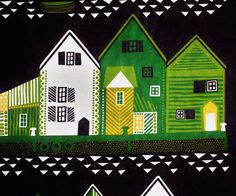 Marimekko fabric Vanhakaupunki green/purple by S. Annukka, 145x45cm;1 house row Finland