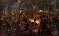 Adolph Menzel The Iron-Rolling Mill (1875) [1024  635]