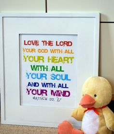Cute for the kids room...  Bible verse 8 x 10  print Love the lord your by prettyprintsshop, $9.00