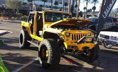 Bumblebee flavoured Jeep Wrangler JK at SEMA. http://timbren.com/2014/11/sema-2014-day-3/