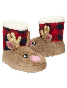 Reindeer Buffalo Check Slippers | Girls Slippers Sleepwear | Shop Justice