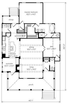 Aiken Ridge Plan SL-1123 Main Level Floor Plan--sunroom, den for office, 2 baths upstairs; m closet & laundry room small but room to expand stoop area.