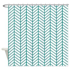 Teal blue herringbone Shower Curtain by Inspirationz Store - CafePress Custom Shower Curtains, Fabric Shower Curtains, Teal House, Herringbone, Color Combinations, Delicate, Stitch, Store