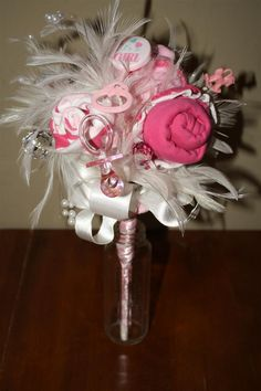 Just One of MANY ideas for a baby shower bouquet hand crafted by   Le Anna Kr.