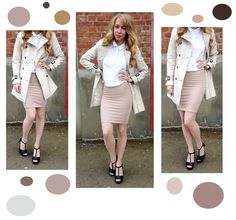 Spring outfit. Trenchcoat, neutrals, pencil skirt, heels, white shirt.
