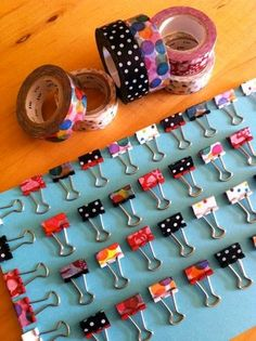 Feb 2016 - We ADORE Washi Tape and I can never resist buying Washi Tape when I see some. Here are some great Washi Tape Ideas and Washi Tape Crafts! See more ideas about Washi tape crafts, Tape crafts and Washi tape. Diy Masking Tape, Duct Tape Crafts, Washi Tape Uses, Paperclip Crafts, Paperclip Bookmarks, Diy Washi Tape Wall, Duct Tape Bookmarks, Ribbon Bookmarks, Cute Crafts