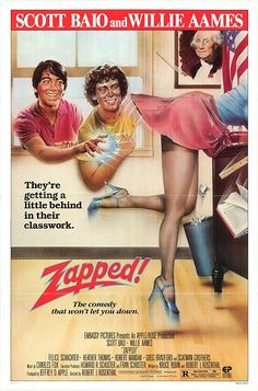 Directed by Robert J. With Scott Baio, Willie Aames, Robert Mandan, Felice Schachter. A high school science nerd gains telekinetic powers after a laboratory accident and uses them for revenge upon bullies. 80s Movie Posters, 80s Movies, Movie Tv, Famous Movies, Movie Props, Zapped Movie, Scatman Crothers, Charles Fox, Scott Baio