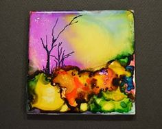 alcohol ink tile More