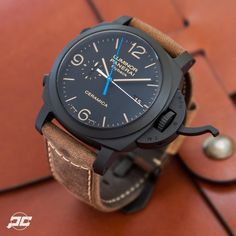 The Panerai PAM580 Ceramic Luminor Marina Chrono Flyback. The little hint of blue rely sets off the dial. @paneraicentral