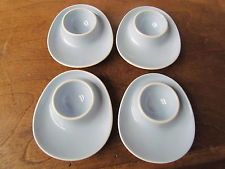 4 Vintage Figgjo Flint Norway Pale Blue Mid Century Stacking Egg Cups 1970s
