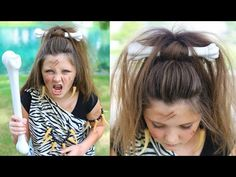 Cave Woman Half-up | Halloween Hairstyles | Cute Girls Hairstyles - YouTube