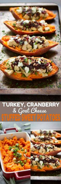 These Turkey (or chicken), cranberry and goat cheese stuffed sweet potatoes are a fantastic way to use up leftovers. 274 calories and 8 Weight Watchers SmartPoints