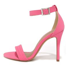 Reservation for Two Fuchsia Nubuck Single Strap Heels ($30) ❤ liked on Polyvore featuring shoes, pumps, heels, pink, high heel pumps, high heel shoes, high heels stilettos, fuchsia pumps and fuschia shoes