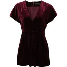 New Look Velvet Wrap Front Short Sleeve Playsuit (1.115 UYU) found on Polyvore featuring women's fashion, jumpsuits, rompers, dresses, one piece, tall romper, velvet rompers, short sleeve rompers, short sleeve romper and wrap front romper