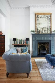 Blue Sofa & White Walls See all our stylish living room design ideas on HOUSE by House & Garden, including this simple blue colour scheme living room. My Living Room, Home And Living, Living Room Decor, Modern Living, Blue Living Rooms, Classic Living Room, Cozy Living, Stylish Living Rooms, Denim Drift Living Room
