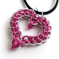 Pink heart chainmail pendant necklace by TattooedAndChained, $20.00