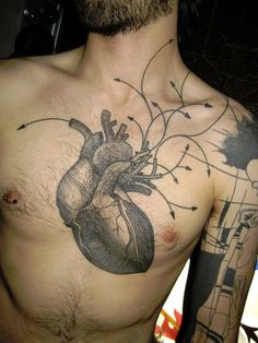 anatomical heart tattoo, wow.