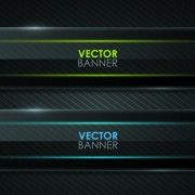 Set of Shiny Black Banners vector 05