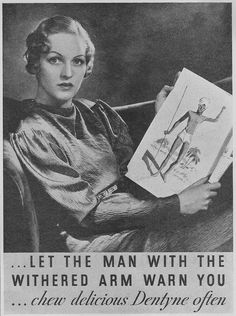 LET THE MAN WITH THE WITHERED ARM WARN YOU... chew delicious Dentyne often.