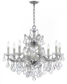 Crystorama Maria Theresa 9 Light Clear Crystal Chrome Chandelier