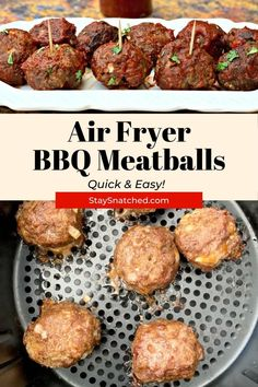 This Easy Air Fryer BBQ Beef Meatballs recipe is prepared with ground beef or turkey using fresh or frozen meat. These are ready in no time and don't take long to cook. These are perfect for weeknight… Air Fry Recipes, Air Fryer Dinner Recipes, Delicious Dinner Recipes, Healthy Recipes, Keto Recipes, Beef Meatball Recipe, Bbq Beef, Air Fryer Healthy, Party Food And Drinks