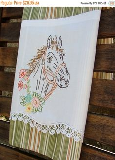 Winter Sale Horse Mare Equestrian Tea Towel by TwoGirlsLaughing