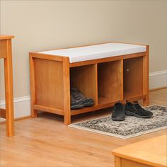 Honey Maple Open Storage Entryway Bench with Cushion By Bay Shore ...
