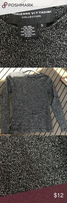 VINTAGE sparkly black & silver long sleeve top VINTAGE 90's.  Beautiful, festive top.  Warm & in perfect condition. Adrienne Vittadini Tops Blouses