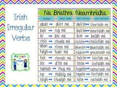 Na Briathra Neamhrialta - Irregular Irish Verbs Irish Language, Irregular Verbs, Irish Girls, Teaching Resources, Ireland, Education, Learning, School, Languages