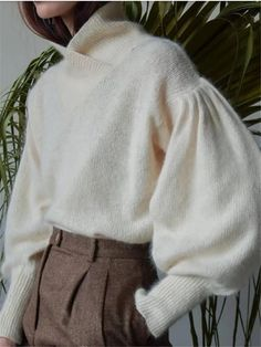 Turtleneck Solid Color Long Sleeve Knit Sweater Product Number Pattern Type Solid color Sleeve Type Puff sleeve Top collar Short high collar Sleeve Length Long sleeve Material Knitting Size S M L XL Length (inch) Bust (inch) Shoulder width (inch) Lengt Knit Fashion, Fashion Outfits, Knitwear Fashion, Sweater Fashion, Jeans Und Sneakers, Cristian Dior, Sweater Knitting Patterns, Knitting Sweaters, Vintage Knitting