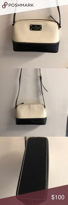 Kate Spade Crossbody Kate Spade Crossbody. Cream with black trim pebble grain leather. Top Zip. Approx size9x6x3.5 kate spade Bags Crossbody Bags