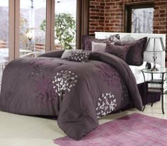 Chic Home Cheila 8-Piece Comforter Set, Queen, Plum by Chic Home. $128.31. Fully elasticized fitted sheet 100-percent Cotton. Care Instructions Machine Washable. Set includes Comforter, bedskirt, two shams and four decorative pillows. Comforter are well stuffed. Add a contemporary touch to your bedroom decor with this charming comforter set featuring a beautiful plum and silver embroidered leaf design. Add a contemporary touch to your bedroom decor with this charming comfo...