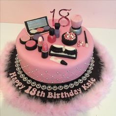 Pink 18th make-up theme birthday cake