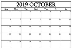 graphic relating to Oct Calendar Printable Pdf titled 10 Suitable Absolutely free Oct 2019 Calendar Printable Templates shots