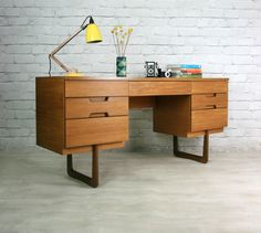 UNIFLEX RETRO VINTAGE TEAK MID CENTURY DESK DRESSING TABLE 50s 60s | eBay