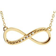 "14k Gold .06 CTW Diamond 16-18"" Infinity Necklace"