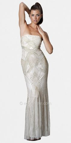 Strapless Beaded Art Deco Inspired Evening Dresses by JS Collection