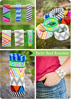 Wonderful hama/perler bead bracelets tutorial from Helena of Craft and Creativity. MUST DO with kids this summer. Perler Beads, Fuse Beads, Hama Beads Jewelry, Motifs Perler, Perler Patterns, Bead Crafts, Jewelry Crafts, Diy Crafts, Loom Beading