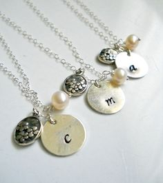 Initial Necklace Set Bridesmaid Gifts Personalized Necklaces with Hand Stamped Inital Flower Charm and Freshwater Pearl Set of 4 - by margosoriginals