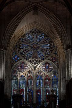 Bourges Cathedral - The Rose Window Lighting Religious Architecture, Gothic Architecture, Ancient Architecture, Interior Architecture, Leaded Glass, Stained Glass, Houses Of The Holy, Rose Window, Cathedral Church