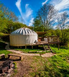 Cotswold Yurts, England, UK #glamping - Enjoy total privacy with your own terrace, canopy kitchen, fire-pit and compost toilet.