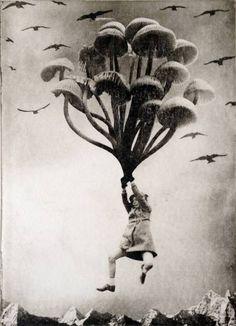 "Saatchi Art Artist Jaco Putker; Printmaking, ""The Girl and The Mushrooms"" #art"