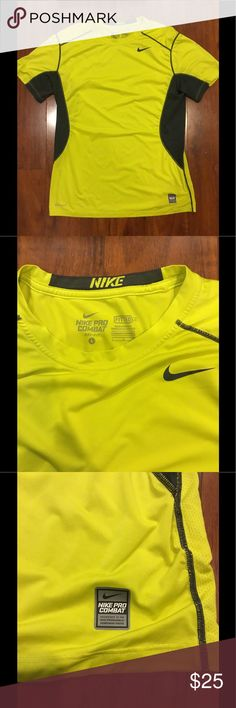 Nike Pro Combat Fitted Dri-Fit Shirt- Large Nike Pro Combat Dri-Fit Fitted shirt- Color: Safety green. Great moisture wicking, breathable material. No longer fits. Nike Shirts Tees - Short Sleeve