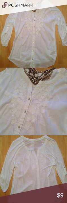 'Code Bleu' Top This pretty ivory 'Code Bleu' Top is a size Medium in Missy. The top is lightweight and sheer. 100% cotton. Very pretty and in excellent condition! Code Bleu Tops Button Down Shirts