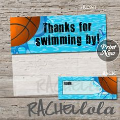 Basketball Pool Party, printable favor bag or goodie bag label, INSTANT DOWNLOAD