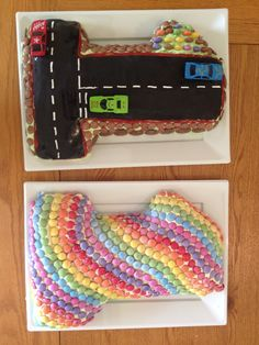 Birthday cake in number 1 one cake tin smarties and car race track boy or girl