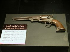 Ned Kelly's Colt Carbine Revolver, Old Melbourne Gaol, VIC, Australia. Famous Outlaws, Ned Kelly, Australian Bush, Wild West, Vintage Photos, Cool Photos, Guns, Cool Stuff, Revolvers
