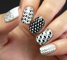 Nail Polish Society>> #31DC2014 Day 07: Black and White and Stamped All Over  #moyou