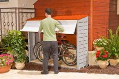 Either bike storage in the patio, or outside garden storage in the backyard. Outdoor Bike Storage, Outside Storage, Bicycle Storage, Bike Storage Home, Backyard Projects, Outdoor Projects, Outside Living, Outdoor Living, Garage Velo